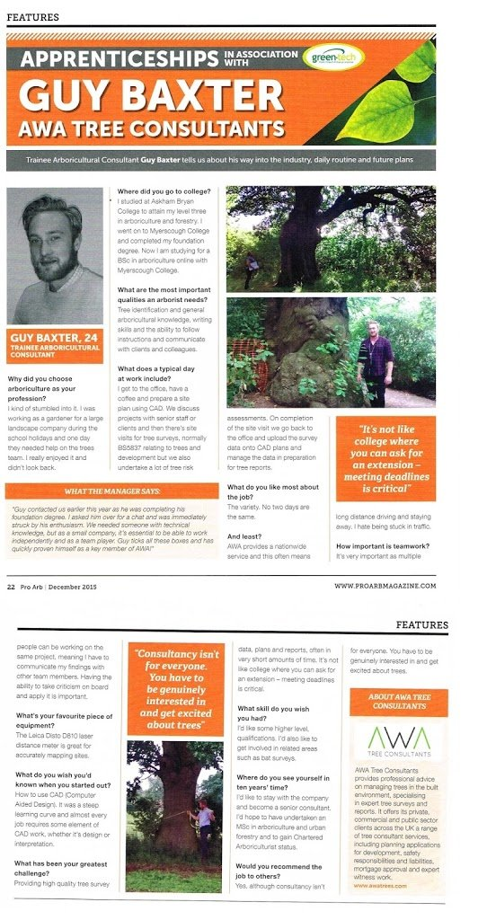An article on AWA Tree Consultants in Pro Arb Magazine.