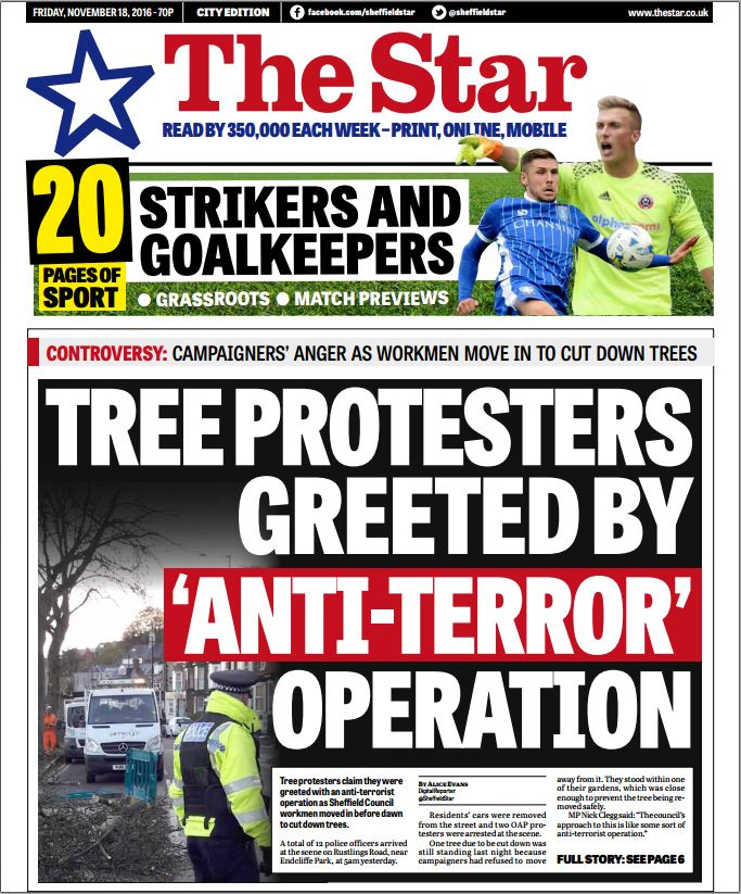 """Article on """"tree protesters greeted by 'Anti-Terror' operation""""."""